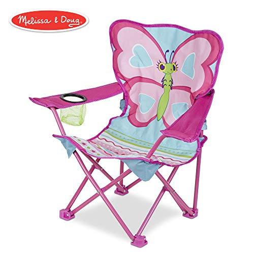 (Melissa & Doug Cutie Pie Butterfly Camp Chair (Easy to Open, Handy Cup Holder, Cleanable Materials, Carrying Bag, 23.7