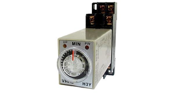 eDealMax DC 24V 3Min minuto Temporizador de retardo de tiempo de retransmisión H3Y-2 + carril DIN Socket - - Amazon.com