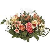 Nearly Natural 4685-AP Rose Candelabrum Decorative Silk Flower Arrangement, Pastel