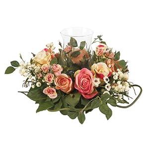 Nearly Natural 4685-AP Rose Candelabrum Decorative Silk Flower Arrangement, Pastel 44