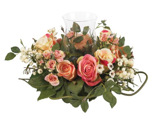 Nearly Natural 4685-AP Rose Candelabrum Decorative Silk Flower Arrangement, Pastel (Dining Room Table Floral Centerpieces)