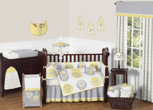 Sweet Jojo Designs Yellow, Gray and White Mod Garden Girls Flower and Butterfly Musical Baby Crib Mobile
