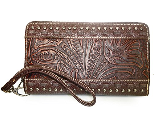 new-trinity-ranch-tooled-leather-zip-around-wristlet-wallet-coffee