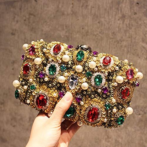 Et d'autres A Perceuse d'or Jours Femmes A Sac Handmade Bridal pour Banquet fériés Paillettes 8x5x2inch 20x12x6cm Embrayage perlé métalliques Flash qB0xx7aPwO