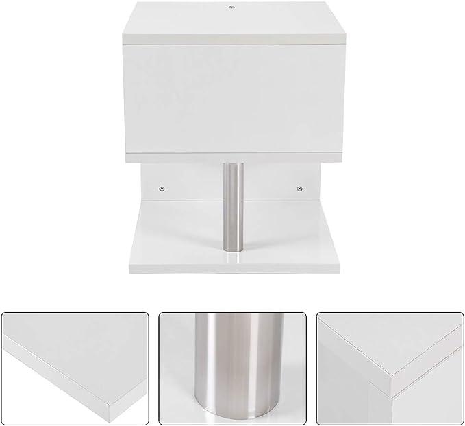 Soggiorno Libreria Scrivania Zerone Tavolino da caff/è Bianco a LED,Tavolino a Forma di S in Truciolare Tavolo dAngolo da Scaffale a 2 Ripiani per Ufficio Bianco 36 x 50 cm