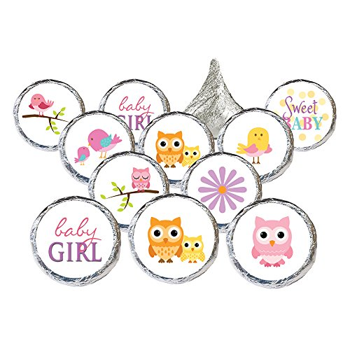 Owl and Tweet Pink Woodland Girl Baby Shower Favor Stickers, 324 Count ()