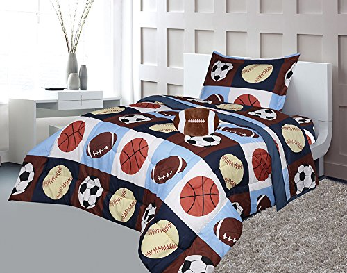 Golden Linens Twin Size 6 Pieces Printed Navy Blue, Sky Blue, Brown, Orange Kids Sports Basketball Football Baseball Comforter/Coverlet/Bed in Bag Set with Decorative Cushion Toy Pillow # 02-6 Pcs by Goldenlinens