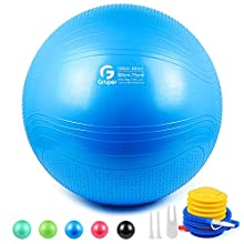 Gruper Yoga Stability Ball - Extra Thick Exercise Ball for Fitness Balance Workout - Anti Burst Chair for Home and Office Desk-Includes Hand Pump & Workout Guide Access (Blue, 26 inch (65cm),L)