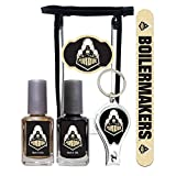 Purdue Boilermakers Manicure Pedicure Set with 7-Inch Nail File, Nail Clippers, 2 Nail Polishes in Team Colors, and Toiletry Bag for the Whole Kit. NCAA Gifts and Gear for Women