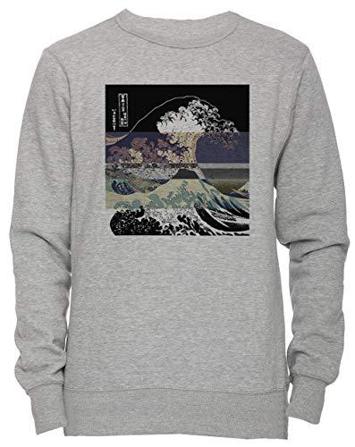 Women's Hokusai Grande Grey Soglia Sizes Jumper Men's Uomo Unisex Felpa All Maglione Pullover Onda Tutti Grigio Donna Il Dimensioni Invertire F4CZq4w