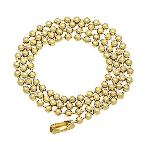 3.2mm Round Ball Chain 14kt Gold Finish 24