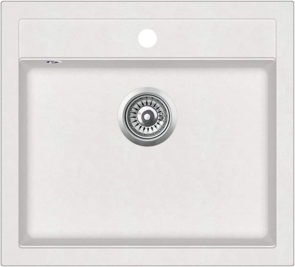 vidaXL Fregadero de Cocina de Granito con un Seno Lavabo Cocina Fontaner/ía Piezas de Fontaner/ía y Bricolaje Resistente Pileta Escurreplatos Blanco