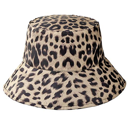 FALETO Women Leopard Print Bucket Hat Summer Packable Reversible Sun Hat,Black