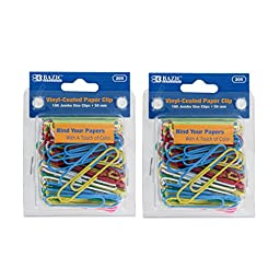 Bazic Jumbo Color Paper Clips, 50mm, Assorted Colors, Pack of 200