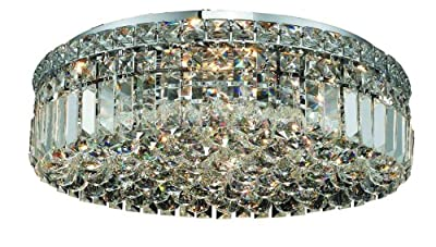Elegant Lighting 2030F20C/RC Maxim 5.5-Inch High 6-Light Flush Mount, Chrome Finish with Crystal (Clear) Royal Cut RC Crystal