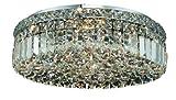 Elegant Lighting 2030F20C/RC Maxim 5.5-Inch High 6-Light Flush Mount, Chrome Finish with Crystal (Clear) Royal Cut RC Crystal For Sale