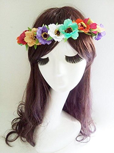 Trendy Pretty Bridal Flower Girl Head Piece Crown Colorful Cherry Blossom Flowers Headband Hippie Floral Circlet Halo Bride Hair Accessories Wreath Headdress Boho Garland (Blossom Crown)