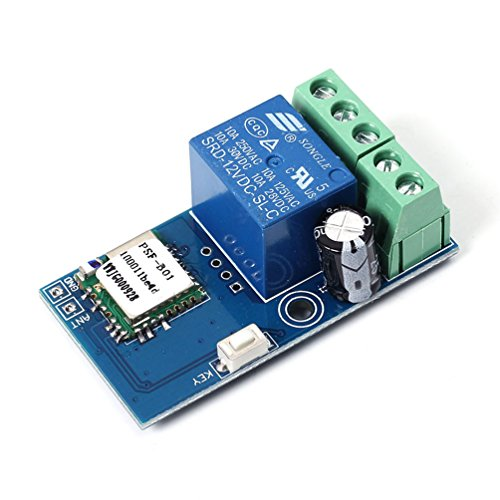 WHDTS WiFi Relay Delay Switch Module Self-Lock Mode Low Power Smart Home Remote Control DC 12V Compatible with iOS Andriod 2G/3G/4G Network Mechanical Relay