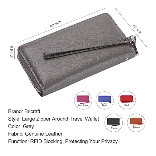 Women RFID Blocking Wallet Genuine Leather Zip Around Clutch Large Travel Purse Grey