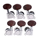 1set 3L3R K-801 Chrome Enclosed Tuning Pegs Machine Head Tuners w/ Amber Plastic Buttons for Acoustic Guitar