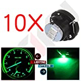 cciyu QTY(10) Green T5/T4.7 Neo Wedge 3 SMD Led Bulbs Instrument Cluster A/C Climate LED Ligh Dash Base Light Lamps 12V