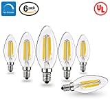 vintage looking ceiling fan - E12 LED Bulbs Candelabra LED Light Bulbs with E12 Base 40W Equivalent Halogen Replacement Warm White 2700K 4W Filament Candle Light Bulbs with 400 Lumen 6 Packs by COOWOO