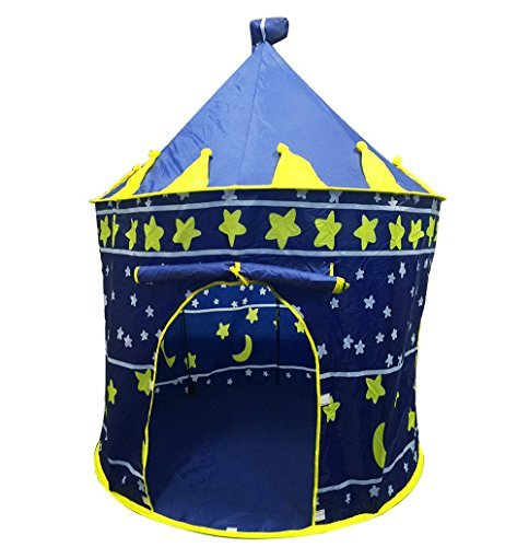 LEOSO Star Castle Prince House Indoor Castle Play Tent Portable Folding boy's Pop Up Playhouse Castle Fairy Tale Cubby Child Kids House