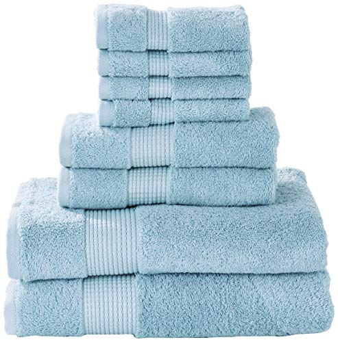 Manor Ridge Turkish Cotton 700 GSM 8 Piece Set, Super Soft, Heavy Weight & Absorbent 2 Bath, 2 Hand Towels and 4 Washcloths, Blue