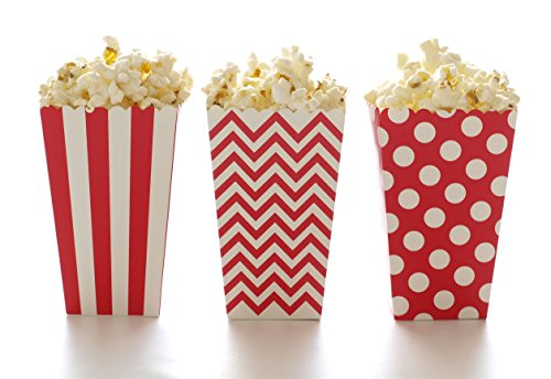 (Popcorn Boxes, Red Design Trio (36 Pack) - Polka Dot, Chevron Zig-Zag, Striped Mini Gourmet Movie Theatre Style Popcorn Tubs)