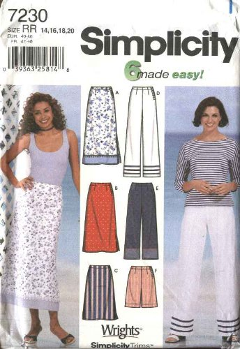 Simplicity Sewing Pattern 7230 Misses Size 6-12 Misses Fitted Skirts Cropped Pants Shorts (Sailor Pants Pattern)