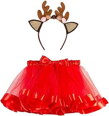 BBSMLIN Disfraces Navidad Niñas Tutu Falda + Diadema de Ciervo ...