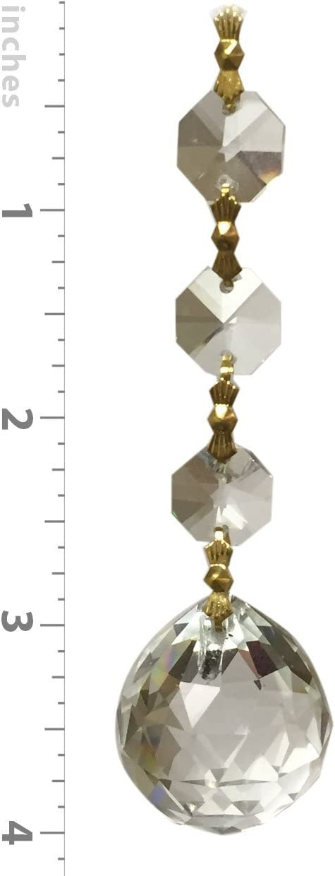 1 Octagon Shape Faceted Ball with Polished Connectors and an Octogan Bead Pack of 10 Royal Designs Quality Clear K9 Crystal with Brass Joint Inc CPC-1006-PB-1-10 Royal Designs Replacement Prism