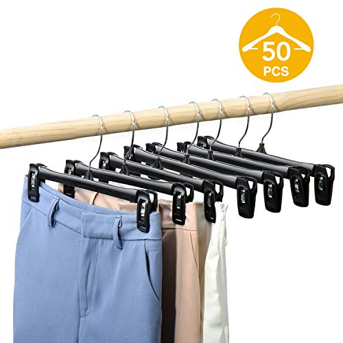 HOUSE DAY Pants Hangers 50 Pcs 12inch Black Plastic Skirt Hangers with Non-Slip Big Clips and 360 Swivel Hook, Durable Sturdy Plastic, Space-Saving Shape, Elegant for Closet Organizing