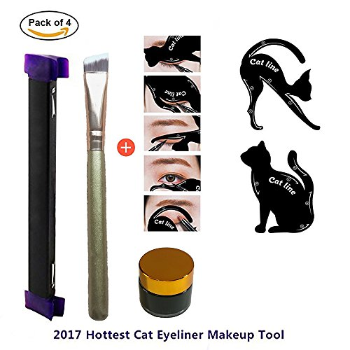 Lemoncy Eyeliner Stamp Kit 4pc Set Easy to Makeup Tool Cat Eye Winged Stamps Natural Eye Makeup tool with Angled Brush Eyeliner Ink & 1pc Cat Eyeliner Stencil Smoky Eye - Wing Cat