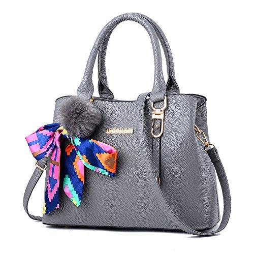 Mujer Lujo Moda Cuero Bolso Bolso Elegante Hombro Bandolera gris