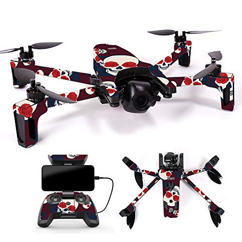 MightySkins Skin for Parrot Anafi Drone – Skulls N Roses | Protective, Durable, and Unique Vinyl Decal wrap Cover | Easy to Apply, Remove, and Change Styles | Made in The USA For Sale