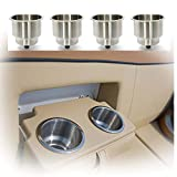 HOFFEN 4Pcs Stainless Steel Cup Drink Holder with Drain Marine Boat RV Camper