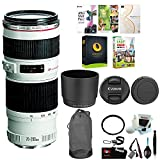 Canon EF 70-200mm f/4 L IS USM Lens with 67mm UV Protector and Accessory Bundle