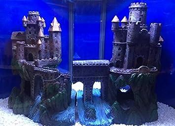 Castillo XL con torretas de río y puente adorno para acuario para ...