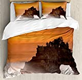 Balinese Decor Duvet Cover Set by Ambesonne, Temple Pura Tanah Lot Bali Indonesia Magical Romantic Sunset Exotic Holidays , 3 Piece Bedding Set with Pillow Shams, Queen / Full, Orange Brown