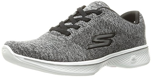 Skechers Performance Women's Go 4-14178 Walking Shoe, Black/White Knit, 8 M US