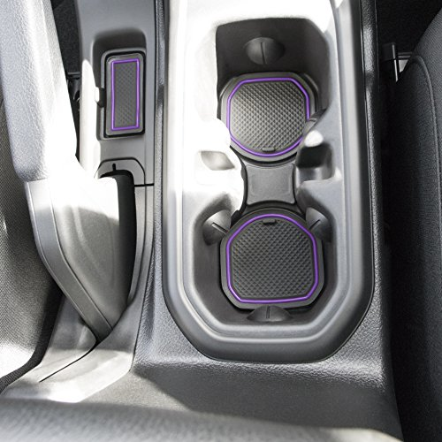 Custom Fit Cup, and Radio Pocket Liner Accessories for JL JLU Jeep Wrangler 2018 2019 13-pc Set (FITS Sports and Rubicon with Cloth Seats ONLY!, Purple Trim)