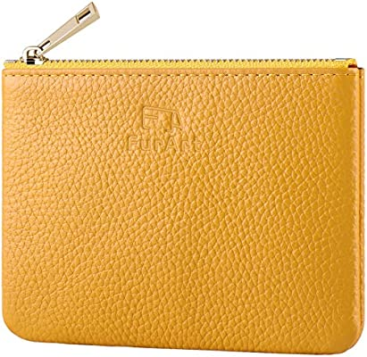 FurArt Change Purse With Zipper Soft Leather Coin Genuine Leather Coin Purse