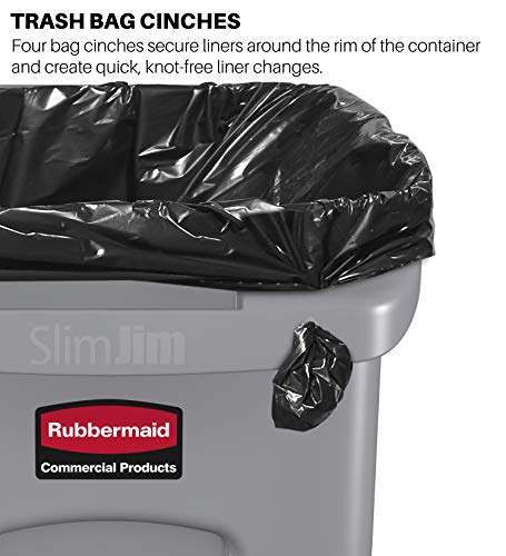 Rubbermaid Commercial Products Slim Jim Plastic Rectangular Trash/Garbage Can with Venting Channels, 23 Gallon, Yellow (1956188)