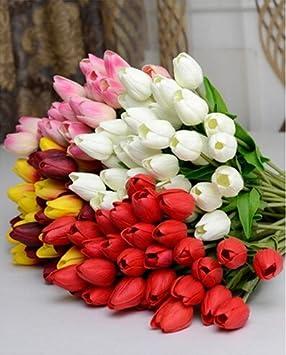 Amazon.com: 10PCS / plantas flores artificiales de seda de la alta calidad de la PU de mini Holanda Impresionante flor del tulipán verdadero toque de flores ...