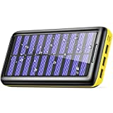 Solar Charger BERNET 24000mAh Ultra High Capacity Portable Solar Power Bank With USB Fan and 3 USB Port External Battery Pack Phone Charger For iPhone iPad Samsung HTC Cellphones And More (Yellow)