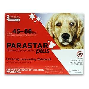 Novartis Parastar Plus Flea and Tick Control for Dogs, 45 to 88-Pound, Red