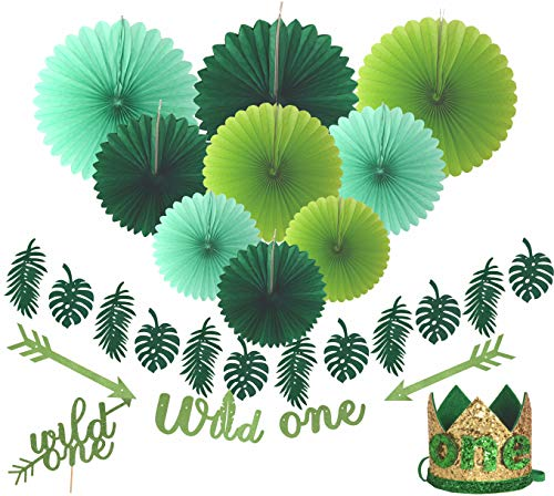 Wild One Birthday Decorations | First Birthday Party Supplies | 2 PCs 'Wild One' Banners | 'Wild One' Gold Glittered Hat Green Crown with Green Hair Band | 1st Baby ()