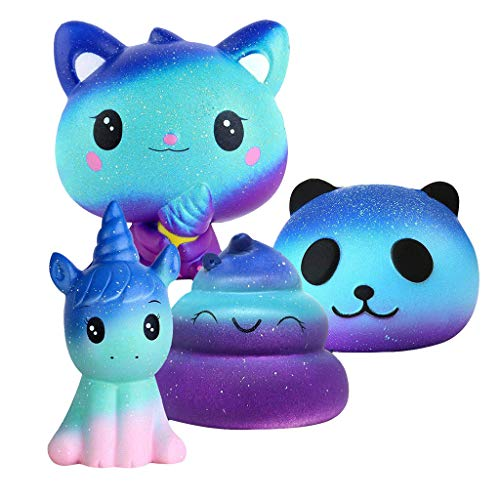 Super Sticky Sweet Pea - Fullwei 4PCS Stress Relief Toys - Desire Deluxe Kawaii Squishies Pack (Unicorn Donut + Cat + Panda + Poop) for Children Adult (Blue)
