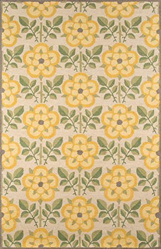 Momeni Rugs NEWPONP-07YEL3959 Newport Collection, 100% Wool Hand Tufted Loop Cut Contemporary Area Rug, 3'9